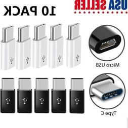 10 Pack USB-C Type C Male to Micro USB Female Adapter Conver