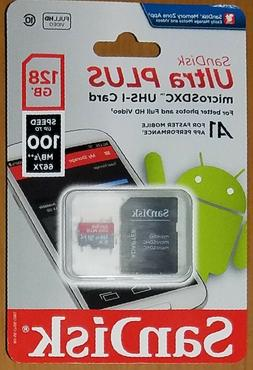 SanDisk 128GB Ultra Plus micro SD UHS-I Card w/ Adapter 100M