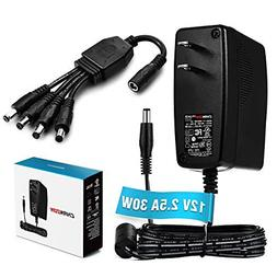 Chanzon 12V 2.5A 30W AC DC Power Supply Adapter Input 100-24