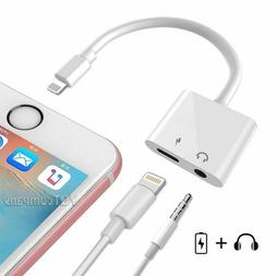 2 in 1 For iPhone Splitter Lightning Charger Adapter 3.5mm A