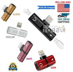 2 in 1 Lightning Adapter Headphone Jack Splitter Audio For i