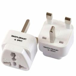 2 Pack UK Travel Adapter for Type G Plug - Works with Electr