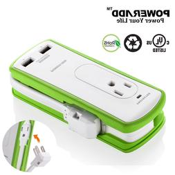 Poweradd 2 Outlet Power Strip Travel Surge Protector 2 USB C