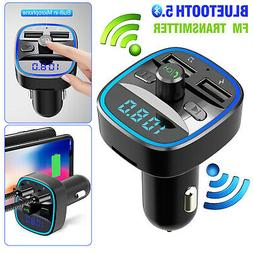 Car Cigar Plug Bluetooth 5.0 FM Transmitter MP3 Player Radio