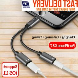 2in1 Dual Lightning Adapter Charging Splitter Audio Cable iP
