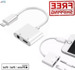 2in1 Audio Splitter Adapter Charger 3.5mm Earphone For iPhon