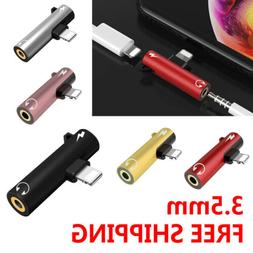 2in1 Audio Splitter Adapter Charger 3.5mm AUX Earphone For i
