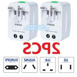 2PC US to EU Europe & Universal AC Power Plug Travel Adapter