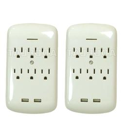 2X 6 OUTLET SURGE PROTECTOR GROUNDING WALL TAP 2 USB PORTS 2