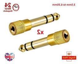 2x Gold Plated 3.5mm Stereo Socket to 6.35mm 1/4 inch Mono J