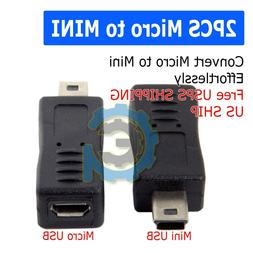 2x Micro USB Female to Mini USB Male Adapter Charger Convert