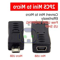 2x Mini USB Female to Micro USB Male Adapter Charger Convert
