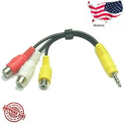 3.5MM A/V JACK TO 3-RCA AUDIO VIDEO CONNECTOR CABLE AUX ADAP