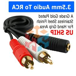 3.5mm Stereo Female to Dual RCA Male Audio Splitter Y Adapte