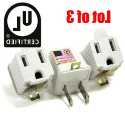 3 Lot | 3 to 2 Prong UL Certified Adapter AC Outlet Ground C