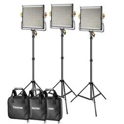 Neewer 3 Packs Dimmable Bi-Color 480 LED Video Light and Sta