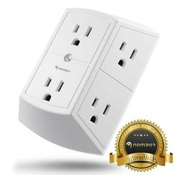 Fosmon  3 Sided 6 Outlet Grounded Indoor Wall Tap Adapter AC