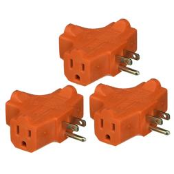 3-Way Splitter Electric Plug Wall Outlet 3 Prongs Ground Tri