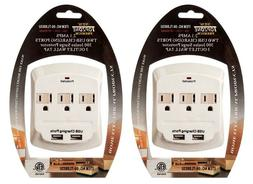 Topzone 3 Outlet with 2 USB Charging Wall  Mount Surge Prote