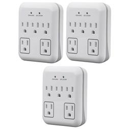 3x 5 Outlet Surge Protector Wall Tap Adapter Power with 2 Tr