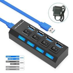 4 Ports Powered USB 3.0 HUB Splitter 5Gbps High Speed Extern