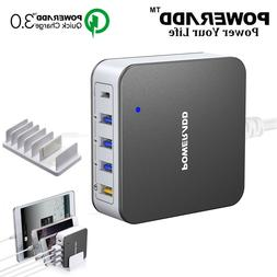 Poweradd 4 USB 3.0A Charging Port Travel Power Adapter + Fas