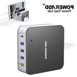 Poweradd 40W 5 Port USB Fast Charger Quick Charge 3.0 USB-C