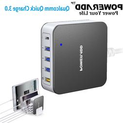 Poweradd 40W 5 USB 3.0A Fast Charger Quick Charge USB-C Wall