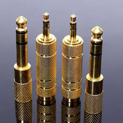 """4Pcs 6.35mm 1/4""""To 3.5mm 1/8"""" Male To Female Gold Stereo Hea"""