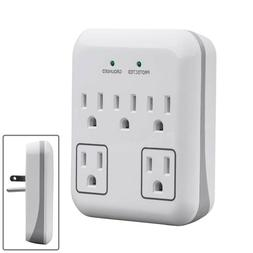 5 Outlet Surge Protector 900J Wall Tap Adapter Plug with 2 T