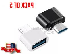 5 Pack USB-A Female To USB-C Male Adapter OTG Type C to A Co