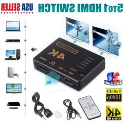 5 To 1 HDMI Splitter Selector Switch Adapter 3D HD 1080p 4K