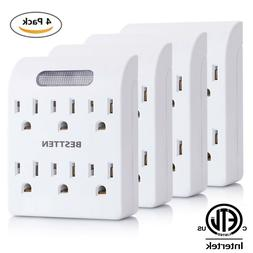 BESTTEN 6 Way Outlet Extender with Auto LED Night-Light Sen