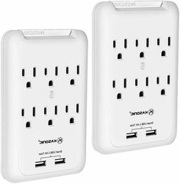 6 Outlet Surge Protector with 2 USB Charger Ports Wall Adapt