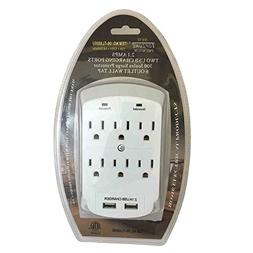 Topzone 6 Outlet with 2 USB Charging Wall  Mount Surge Prote