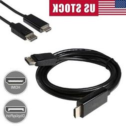 6FT Displayport DP to HDMI Cable Adapter 1080P 4K Resolution