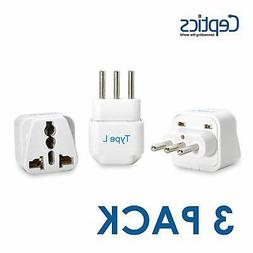 Ceptics GP-12A-3PK Italy Travel Plug Adapter  - 3 Pack