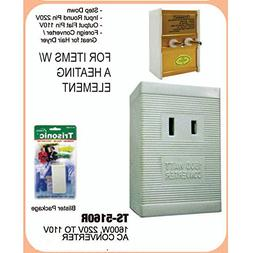 International Voltage Converter 220V to 110V 1600 Watt. Use