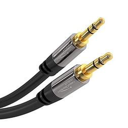 KabelDirekt Pro Series 1 foot 3.5mm Audio Aux Cord, 24k Gold