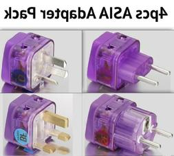 NEW! 4 Pieces HIGH QUALITY ASIA TRAVEL ADAPTER Pack for MOST