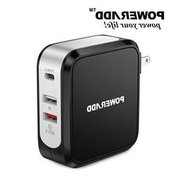 Poweradd 43W Quick Charge 3.0 USB Fast Charger with Type-C W