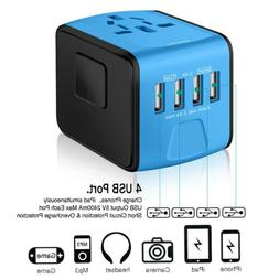 Universal 4 USB International Travel Wall Charger Adapter Po