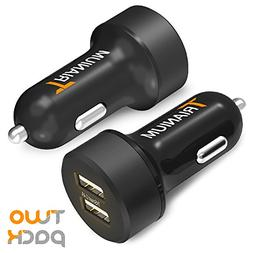 Trianium Car Charger 24W 4.8A Dual USB Phone Charger  with A