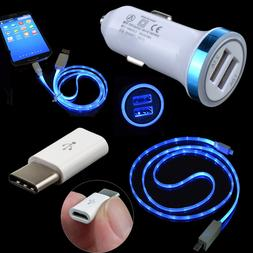 Car Charger LED Cable USB-C Adapter For LG Q8 Q7 G7 ThinQ G6