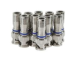 HDView 10PCS CCTV Male BNC Compression Connector RG59 Coax C