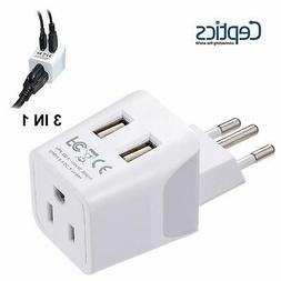 Ceptics USA to Brazil Travel Adapter Plug  With Dual USB - T