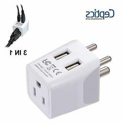 Ceptics USA to India, Africa Travel Adapter Plug  With Dual