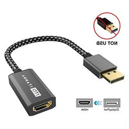DisplayPort to HDMI Adapter, ITANDA Nylon Braided, Gold-Plat