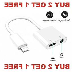 Dual Adapter 3.5mm Headphone & Charger 2 in 1 Adapter for iP
