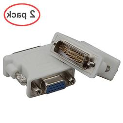Lineso 2Pack DVI Male To VGA Female Adapter  White